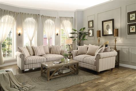 Striped Sofas Living Room Furniture by Traditional Formal Striped Fabric 2pc Sofa Set Sofa