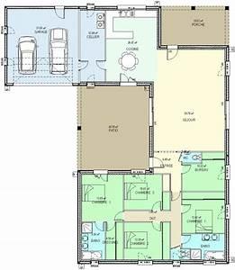 Plan De Construction : plan maison plain pied chambres bureau 2169 ~ Premium-room.com Idées de Décoration