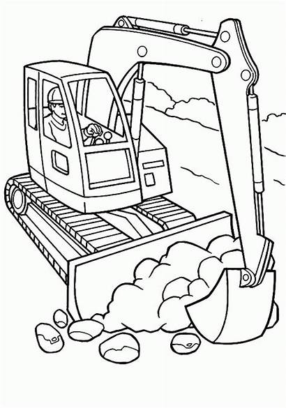 Construction Coloring Pages Excavator Printable Equipment Vehicles
