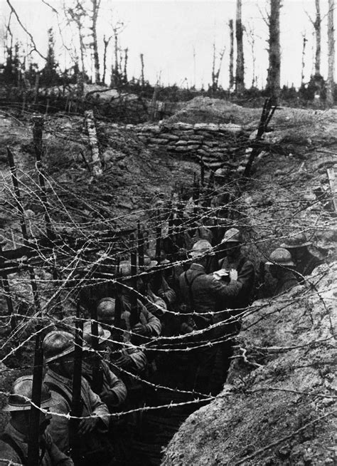 French Soldiers Wait In Their Trenches At The Western