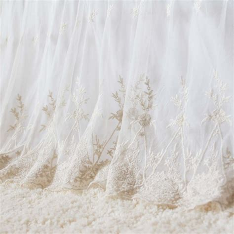 shabby chic bedding ivory lace bed skirt