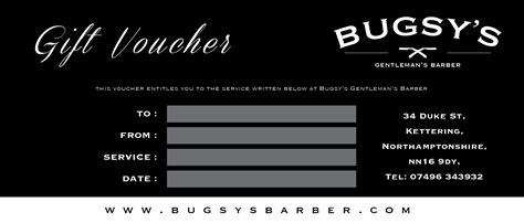 voucher for haircut bugsys barber gift vouchers mens haircuts in kettering
