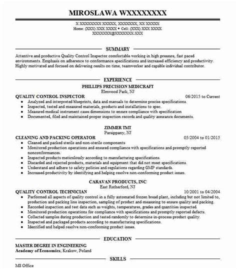 Quality Inspector Resume by Quality Inspector Resume Sle Livecareer