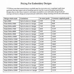 Embroidery Images - Pricing For Embroidery Designs