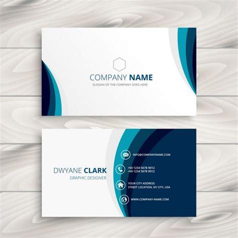 blue wave business card design vector