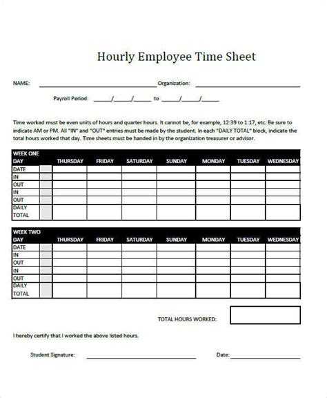 hourly employee timesheet template 41 timesheet templates sle templates