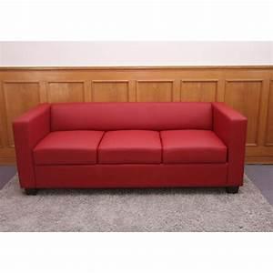 3er Couch : 3er sofa couch loungesofa lille leder rot ~ Pilothousefishingboats.com Haus und Dekorationen