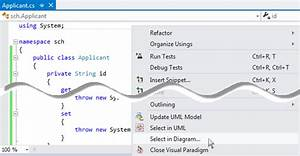 How To Select Uml Class From Source Code In Visual Studio
