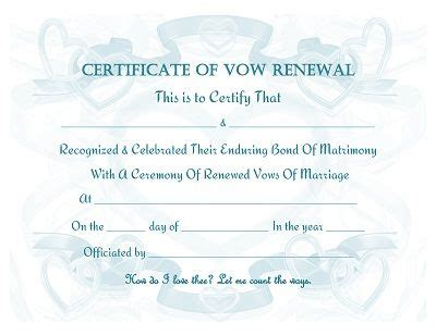 vow renewal certificate  printable prayers quotes