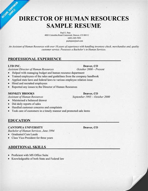 human resources director resume exles human resources management january 2016