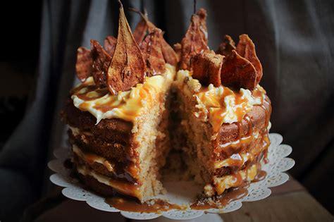 spiced pear cake  mascarpone icing  sticky toffee