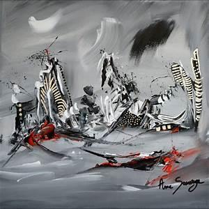 Tableau Moderne Noir Et Blanc : tableau abstrait moderne gris noir blanc argent vestiges ~ Teatrodelosmanantiales.com Idées de Décoration