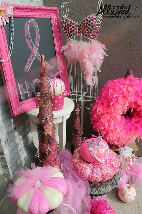 Pink Hanging Decorations - pink pumpkin fall decor for breast cancer awareness month