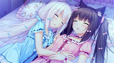 hd wallpaper balloon anime girls vanilla neko