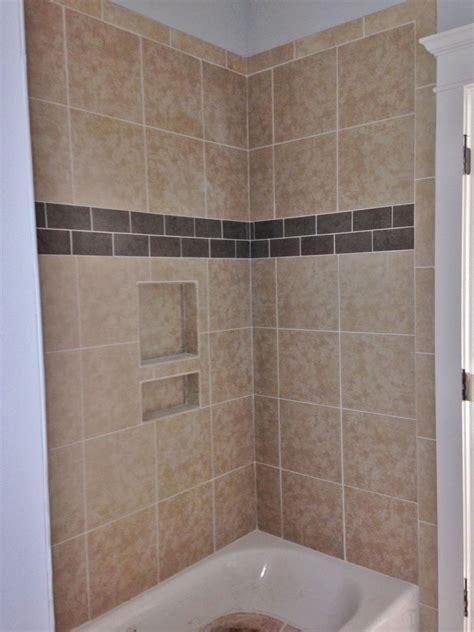 12x12 porcelain tile on tub walls with porcelain accent