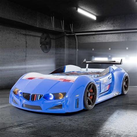bmw  sport race car bed  blue  spoiler car bed
