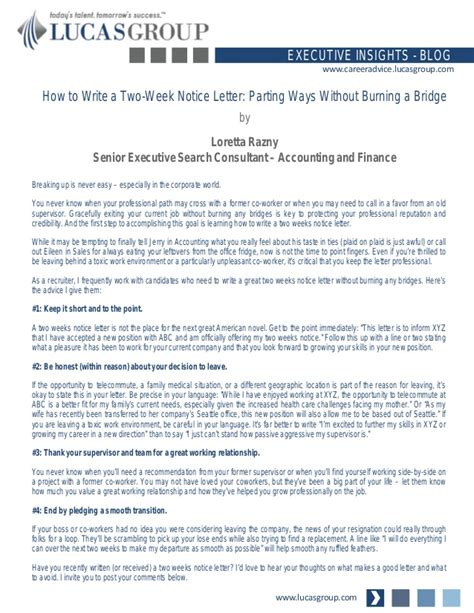 how to write a 2 week notice letter for work how to write a two weeks notice letter parting ways 30587
