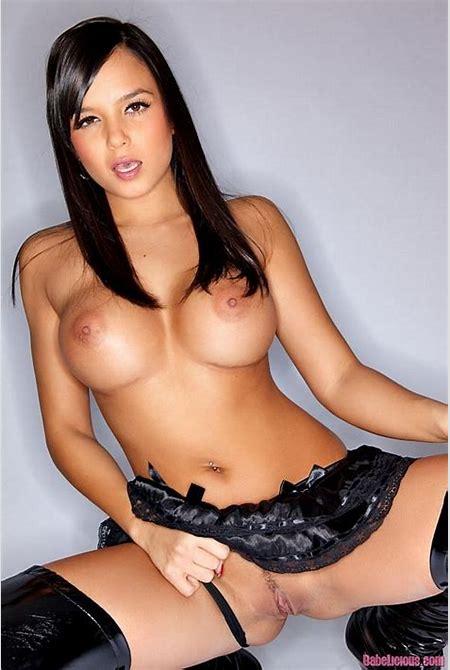 Sasha Cane busty brunette in black latex corset - Pichunter