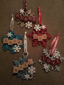 christmas scrabble snowflake ornaments christmas With cheap letter ornaments