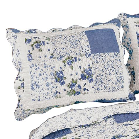 quilted pillow shams hadley floral patchwork quilted pillow sham ebay