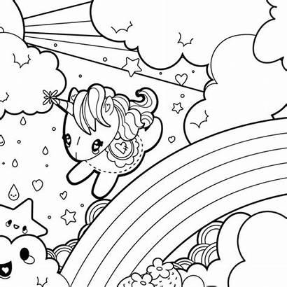Coloring Rainbow Pages Unicorn Unicorns Cartoon Popular