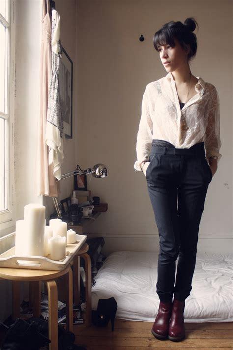 Adeline Rapon - Hu0026M Lace Shirt The Kooples Pants Dr. Martens Boots - Sale Parisienne. | LOOKBOOK