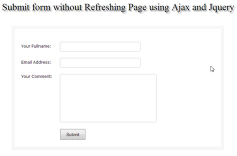 submit form without refreshing page using ajax and jquery