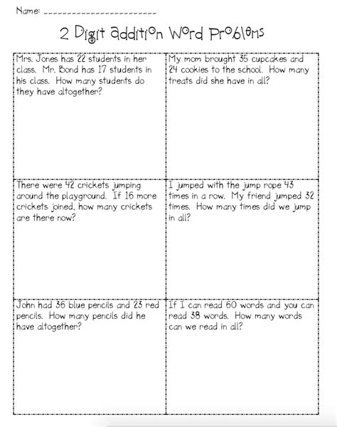 worksheet two digit addition and subtraction word