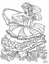 Coloring Pages Dancing Clothing Barbie Printable Clothes Books Supercoloring Adult Print Lady Woman Colorings Super Elegant Drawing sketch template