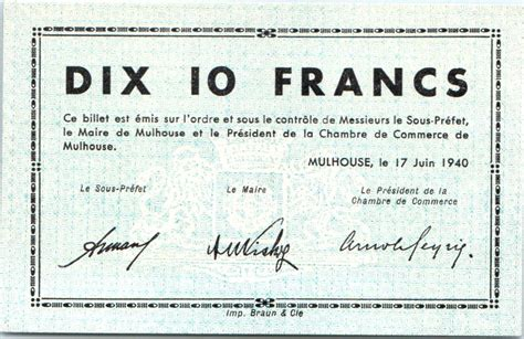 chambre de commerce mulhouse billet 10 francs mulhouse chambre de commerce