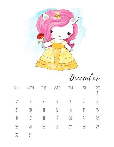 calendario  de unicornios  imprimir gratis