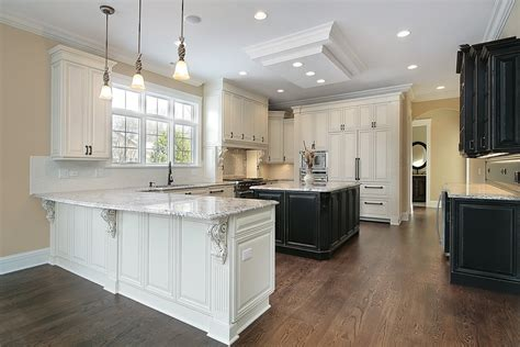White Kitchen Cabinets With Dark Hardwood Floors Design