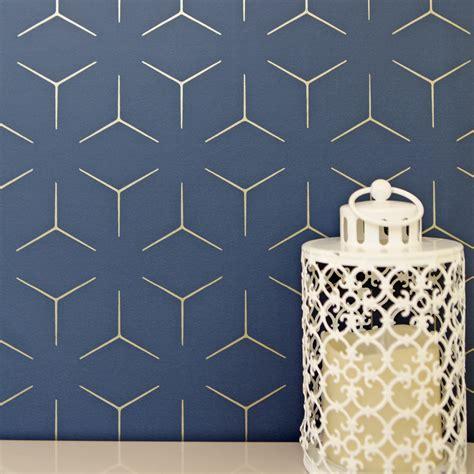 metro illusion geometric wallpaper navy blue gold