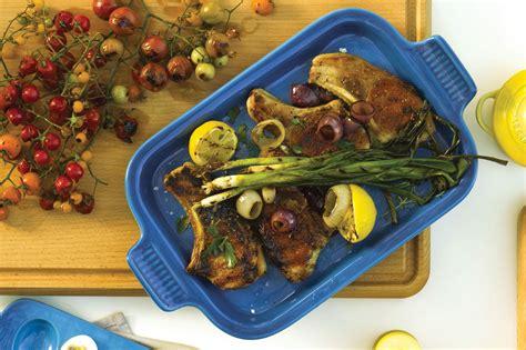 le creuset stoneware rectangular baking dish  platter lid     marseille cutlery