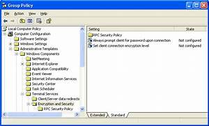securing remote desktop for windows xp With encryption policy template