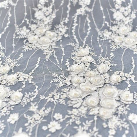 Stunning Beading Rose Lace Fabric 3d Rosette Drape Lace