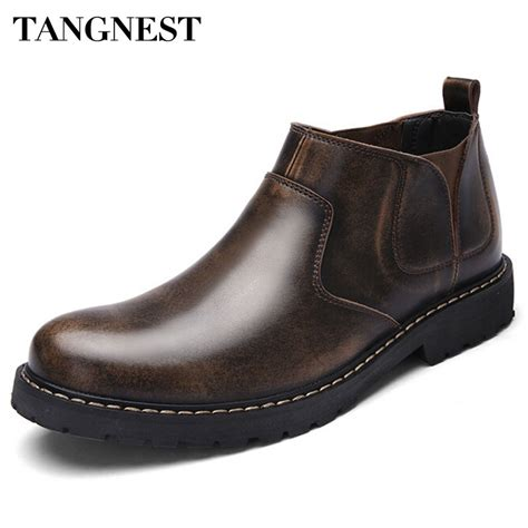 Tangnest Retro Men Fashion Boots Cow Split Leather