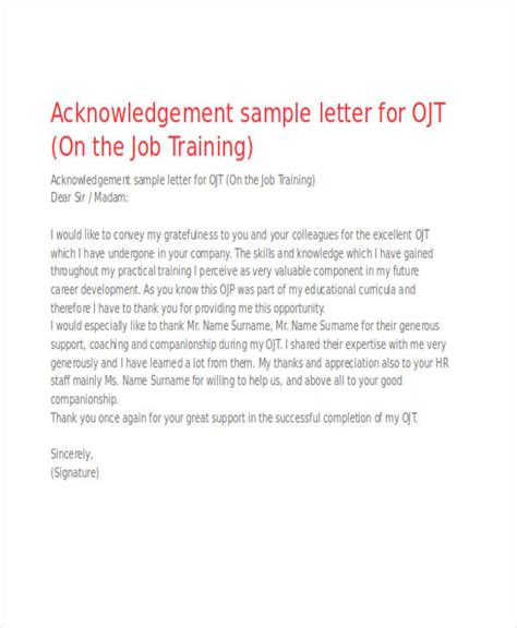 FREE 45+ Acknowledgement Letter Examples & Samples in PDF ...