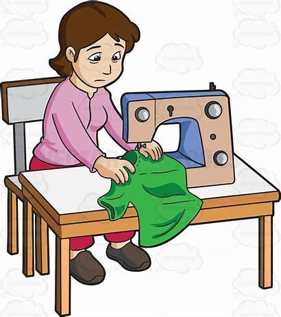 Sewing Clipart Sew Cartoon Worker Person Shirt