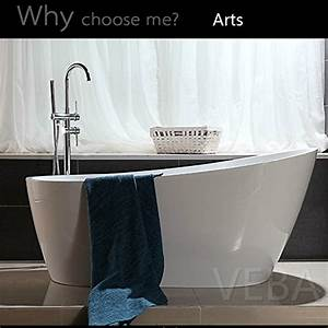 55, Inch, Free, Standing, Tub, Small, Freestanding, Acrylic, Bathtub, With, Overflow, Side, Drain, And, Hose