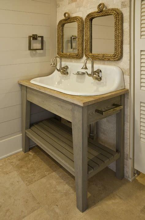 Farm Style Bathroom Sink by Rope Mirror Cottage Bathroom Brown Meihaus Construction