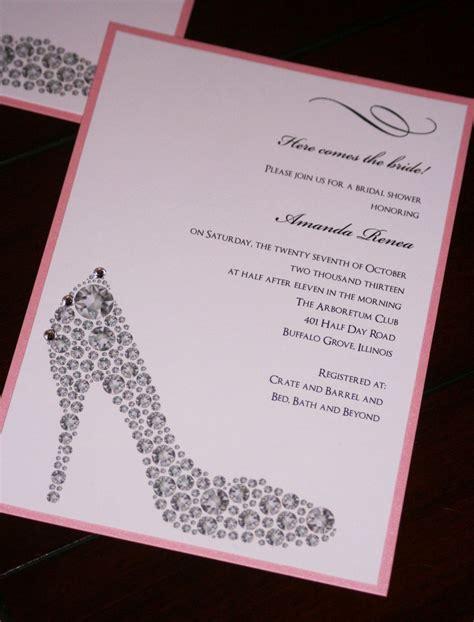 shoe bridal shower invitations bling shoe bridal shower