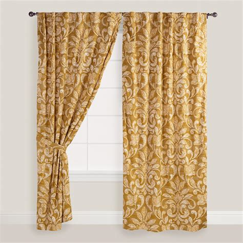 gold and white curtains gold and white floral becco curtains set of 2 world market