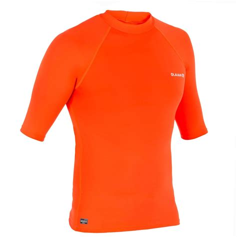 tee shirt anti uv surf top  manches courtes homme orange fluo clubs collectivites