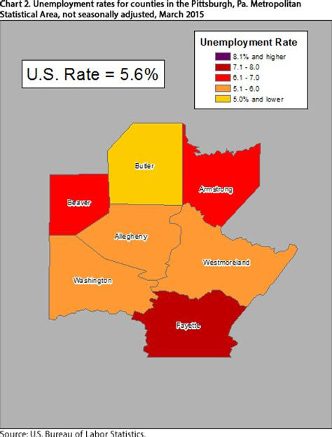dol bureau of labor statistics unemployment in the pittsburgh area by county march 2015