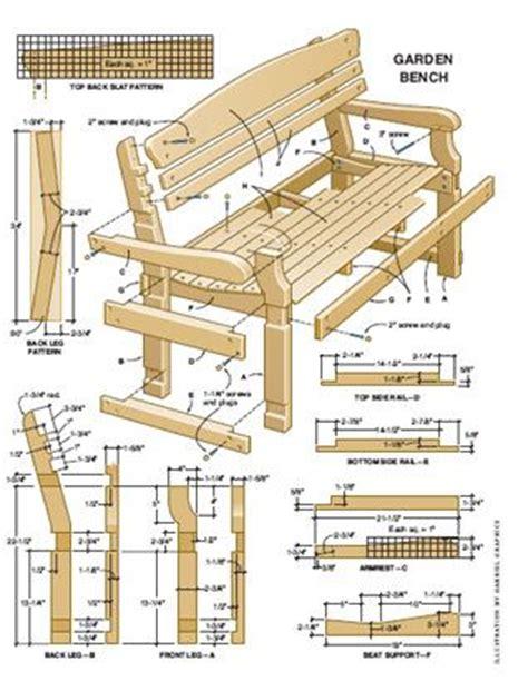 bench measurements plan   garden furniture