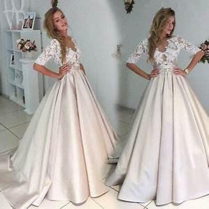 Vintage Satin Wedding Dresses Lace Top A-line Bridal Gown ...