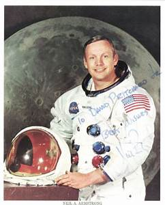 """Lot Detail - Neil Armstrong Signed 8"""" x 10"""" NASA Photo ..."""