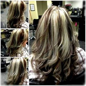 Chunky platinum highlights with red brown lowlights ...