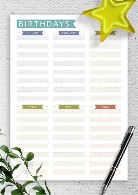 printable birthday calendar casual style